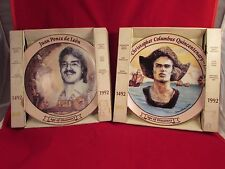 CHRISTOPHER COLUMBUS & JUAN PONCE DE LEON COLLECTOR PLATES 23KT GOLD TRIM IN BOX