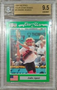 1991 Andre Agassi NETPRO Tour Star #3 Rookie Card RC Beckett 9.5