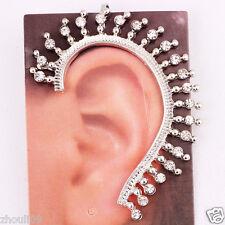 gorgeous women Statement Silver filled crystal long Ear Studs earrings hot