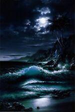 MOONRISE - SCENIC OCEAN ART POSTER 24x36 - BEACH 3682