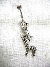 COUNTRY GIRL 8 POINT BUCK 2 SIDED DEER CHARM ON 14G CLEAR CZ BELLY BUTTON RING