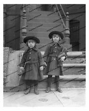 Vintage photo-Little girls-doll-teddy bear-8x10 in.