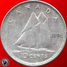1945 1953 1960 1961 1962 1965 Canada 10 Cents (2.3328 grams .800 Silver Ea)