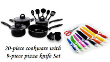 Keimav 20-piece Cookware with Nylon Utensil w/ 9-piece pizza knife Set