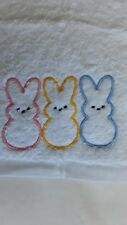 Bunnies machine embroidered face washer novelty gift. Flannel, baby unisex.