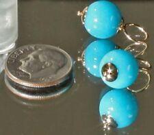 14K Yellow Gold Hooplet Ball Dangle Finding 10mm Turquoise Fine Jewelry Earrings