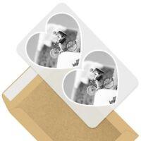 2 x Heart Stickers 10 cm - BW - Funny Mini Cyclist on Toast  #39272
