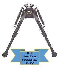 "TipTop® Rifle Bipod Notched Legs EZ Pivot &PAN + Quickest Swivel Mount 9 - 13"""