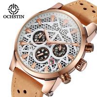 Unique Cool Casual Army Sport Quartz Chronograph Date Leather Men's Wrist Watch