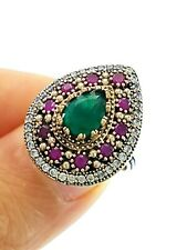 R2210 OTTOMAN STERLING 925 SILVER SIZE 8 EMERALD RING TURKISH HANDMADE JEWELRY