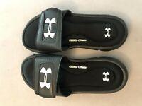 New! Boy's Youth Under Armour 1287320-001 Ignite V Slide Sandals Black SZ 6Y