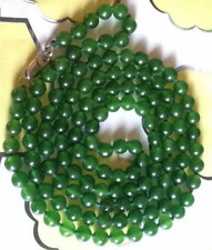 Dark Green 8mm Emerald Roundel Beads Necklace 35""