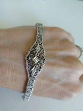 White Gold Diamond Link Art Deco Filigree Vintage Bracelet 10k Antique