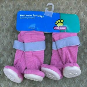 NEW DOG BOOTS Top Paw Footwear Booties Pink Reflective rubber XS Shoes Tall legs