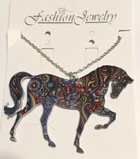 Animal Horse Stallion Pony Necklace Bright Multi Colored Acrylic Strutting