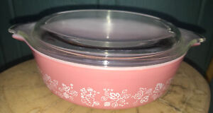 Vintage Pyrex Pink Gooseberry Casserole Dish & Lid 471 One Pint
