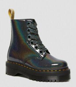 Dr Martens Platform Vegan Molly gunmetal grey Iridescent prysm Boots UK 6.5