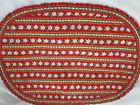 VTG Bambergers Christmas Poinsettia Print Fabric Placemats w Napkins 2 New 2 EUC
