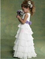 New Ruffle A Line Custom Made Kids Baby Princess Flower Girl Dresses Bridesmaid