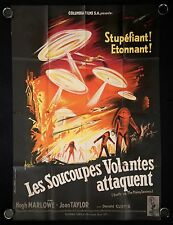 ORIGINAL 1956 EARTH VS THE FLYING SAUCERS FOLDED FRENCHE GRANDE MOVIE POSTER
