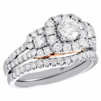 14K White Gold 3 Stone Diamond Bridal Set Split Shank Halo Wedding Ring 1.50 CT.