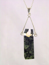 BUTW Raw Polished Green Kyanite Pendant with Quartz Accent Stone & Chain 8709K