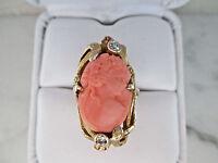 14K Yellow Gold Angel Coral 20pts Natural Diamond