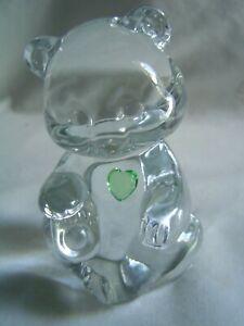 FENTON CLEAR GLASS BIRTHDAY TEDDY BEAR AUGUST PERIDOT HEART