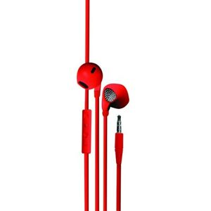 Ecouteur intra-auriculaire avec micro intégré 1,2 m - rouge