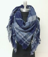 NEW Men Women Mid weight Plaid Square Scarf w/ lurex Blue Cozy Wrap Shawl UNISEX