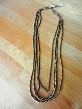 Lucky Brand Two Tone Multi Strand Beaded Necklace MSRP $55