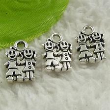 Free Ship 150 pcs tibet silver boy girl charms 15x11mm #4521