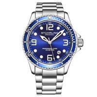 Stuhrling 3930 2 Aquadiver Date Blue Dial Stainless Steel Bracelet Mens Watch
