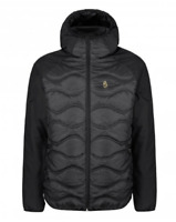 LUKE Roundy Sport Quilted Hooded Jacket Black Mens Size UK XL *REF107