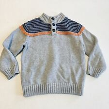 Little Boy Gymboree Pull Over Sweater Button Holiday Christmas Knit Grey Size 3T