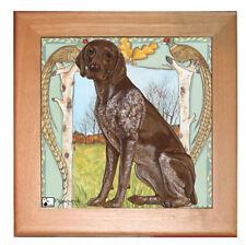 "German Pointer Dog Kitchen Ceramic Trivet Framed in Pine 8"" x 8"""