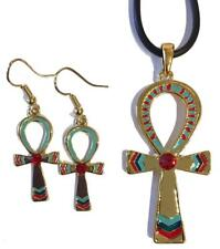 Ankh Egyptian Color Costume Dangle Earrings and Pendant Necklace Set