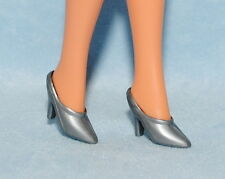 Classy! Silver Gray Closed Toe Open Heel High Heels Mules Shoes for Barbie