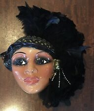 Ceramic African American Lady Face Mask Hanging Wall Art Mardi Gras Feathers