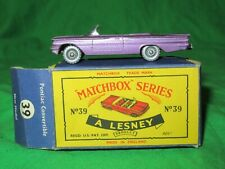Matchbox Lesney 39 Pontiac Convertible good original & boxed