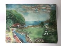 Vintage Pastel on Paper Landscape Painting See Pics 15 x 12 Unknown Artist