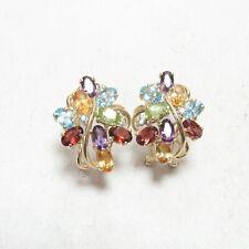 Estate 14K Yellow Gold Natural Amethyst Garnet Peridot Topaz Citrine Earrings