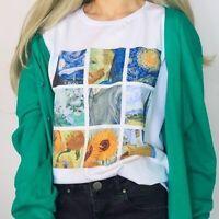 Women Van Gogh Painting Vintage T-Shirt Printed Tee Short Sleeves White Tops