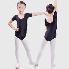 Girls Gymnastics Leotard Short Sleeves Ballet Slim Dancing Dress Dancewear