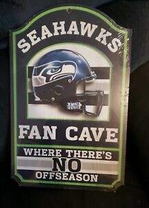 Seattle Seahawks Wincraft NFL 11x17 Wooden Man Cave Sign BRAND NEW STILL SEALED