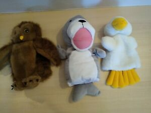 3 cute hand puppets:SEAL/DUCK/OWL: The Puppet Company: Good cond: Combine post