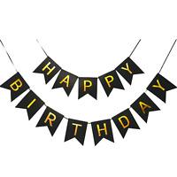 Balck and Gold Happy Birthday Banner, 1st Birthday Girl Banner