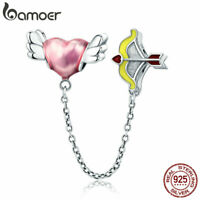 BAMOER 100% Sterling Silver Charm Wish of love Safety chain With CZ Fit bracelet