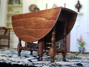 Dollhouse Miniature Artisan Pierre Wallack Gateleg Table Signed 1:12