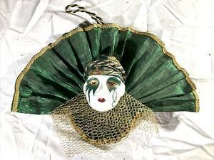 Vintage Mardi Gras Porcelain Ceramic Painted Wall Hanging Face Mask ~12x8/ 3.5x3